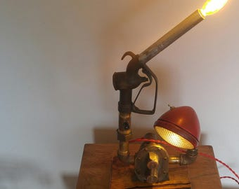 Industrial lamp upcycled from found items.