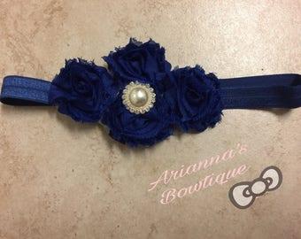 Royal blue Shabby Chic Headband