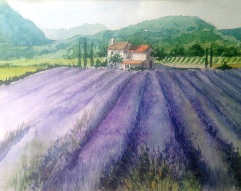 Provence, original watercolor, original Painting, landscape, lavender, picture for home, scenery, watercolor painting