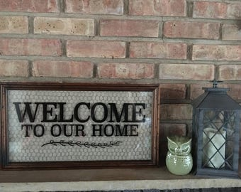 Welcome To Our Home Farmhouse Style Sign, Wood frame, Burlap and Chicken Wire 11x20