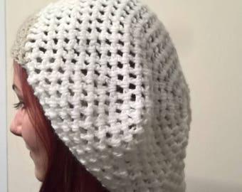 white crochet slouch hat