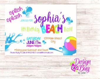 Beach Bash Birthday Invite