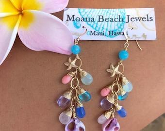 Hawaii, Maui, Hawaiian Jewelry, Beach Jewelry, Ocean Jewelry, Made in Hawaii, Handmade Jewelry, Moana, Beach earrings,Shell Earrings,