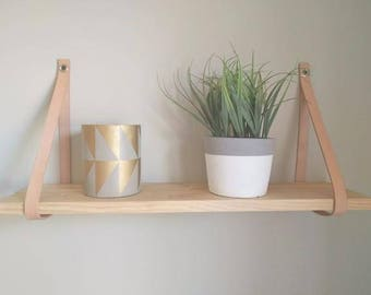 Wall Shelf with Leather Straps