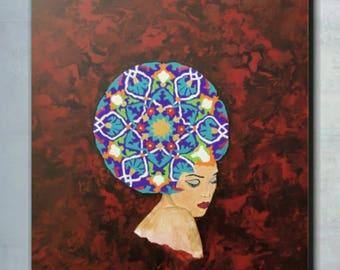 "Original acrylic painting ""Dreamer Woman"""