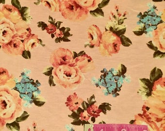 Blush Floral Knit Fabric   Stretchy Knit Fabric   Poly Spandex    S&H INCL