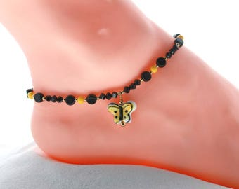 Black bead anklet, girlfriend gift