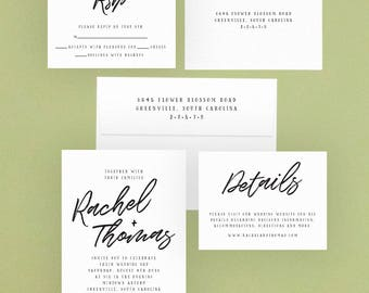 Digital OR Printed Wedding Invitation Suite // The MODERN CALLIGRAPHY Collection // Script, Simple, Black & White, Modern