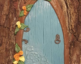 Blue Fairy Door, Orange and Yellow Flowers, Clay, Hand sculpted
