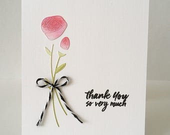 Roses thank you card