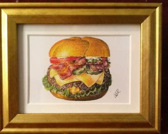 Cheeseburger Deluxe drawing in gold frame