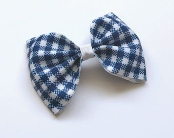 Navy Blue Gingham Large Bow