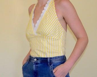 vintage 90s yellow striped halter top