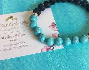 Turquoise Lava Bead Stacking Bracelet