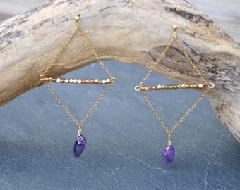 Geometric shape Amethyst earrings