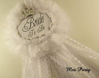 Bride To Be Corsage Bridal Shower Badge Silver Bride To Be Corsage Silver Bridal Shower Decor Bachelorette Badge