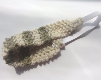 Girls Knitted Headband in Neutral Stripes