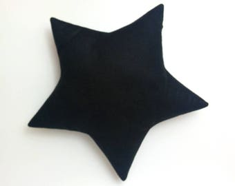 Black Nursery Decor . Decorative Star Pillow . Felt Home Decor . Black Star Nursery Decor . Black Star Cushion . Black Home Decor