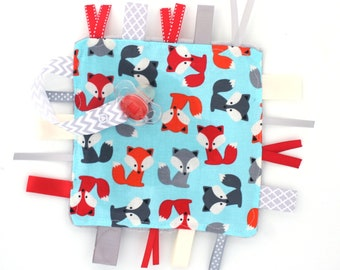 Baby Ribbon Tag Lovey- Sensory Baby Toy- Baby Foxes, Gray and Red- Pacifier Clip Holder