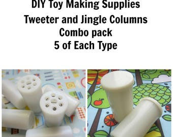 Rattle Inserts. Jingle Columns and Bird Tweeter giggle columns.  5 of each.  Soft toy making inserts. Noise makers. DIY Craft Supplies.