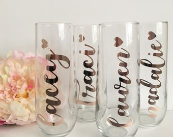 Bridesmaid champagne flutes- rose gold champagne flutes- bridesmaid gift ideas- rose gold champagne glasses- personalized champagne glasses-