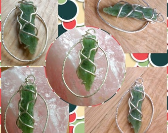Rough green kyanite sterling silver pendant. Handcrafted one of a kind. Sterling 925 silver crystal jewellery. Heart chakra.