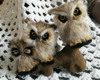 Vintage real owl fur figure - Family of owls on branch