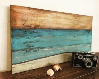 Beach pallet art - beach art - pallet art - beach decor - wood decor - pallet decor - sunset art - wood art
