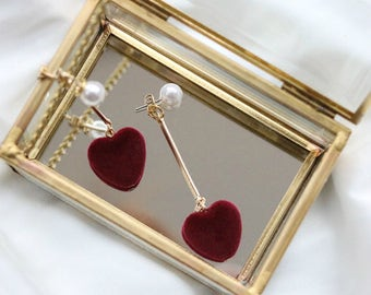 Romantic Burgundy Heart earrings with small Pearls Red Heart earrings Dangle Drop Luxurious Valentine Gift
