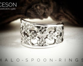 Very Pretty and Unique Ladies Swedish Silver Spoon Ring by Ceson Sweden 1986 and hallmarked 830s.