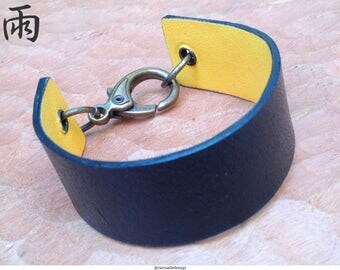 Black and yellow leather cuff bracelet
