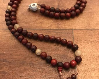 Blood Red Sandalwood and Quartz Mala