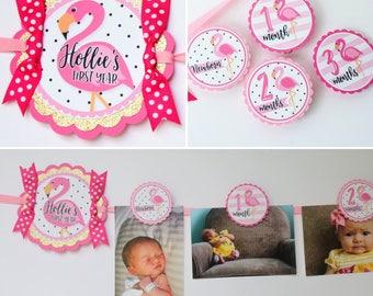 Flamingo Birthday Photo Banner - 12 Month Photo Banner - Flamingo Pink & Gold Birthday Party Photo Banner