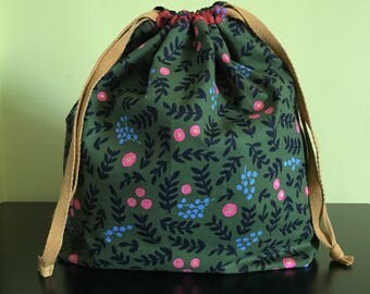 Handmade drawstring bag / pouch for knitting crochet project 27 x 21.5 x 7.5 cm *Flowers Wonderland 2*