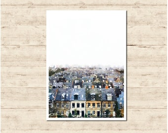 Amsterdam the Netherlands Watercolour Painting Postcard Poster Art Print Q100