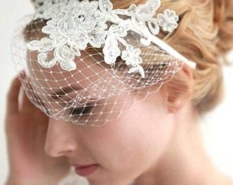 Lace headband veil