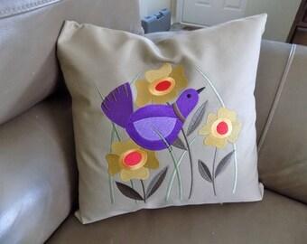 Bird in Flowers Toss Pillow Cover
