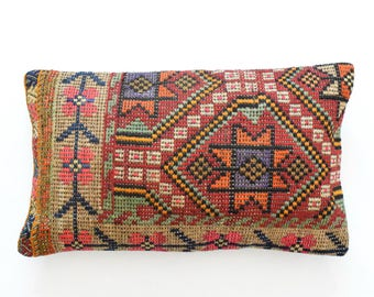 "Kilim rug pillow cover 16""x26"" (40x65cm) 001"