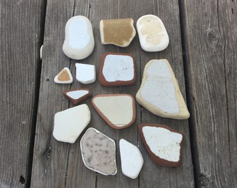Authentic SEA POTTERY in Thirteen Shades of White/tan/cream