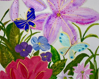 Butterflies and Flowers/ great for desk top wall-paper