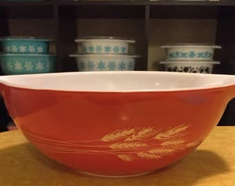 Vintage Pyrex 444 Autumn Harvest Wheat Cinderella Bowl