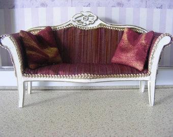 1/12 Special Burgandy Silk Sofa