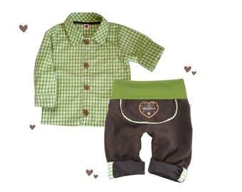 SET leather pants shirt costume pants, green, 56-86