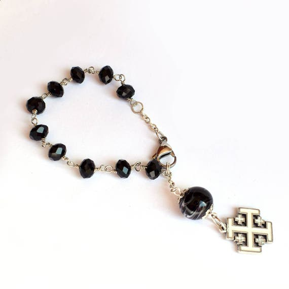 Jerusalem cross Rosary, Men bracelet, catholic chaplet, religious jewelry, gift for godson, baptism gift, first communion gift glass jewelry