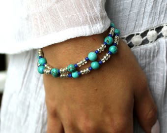 Beaded Wrap Bracelet with Turquoise