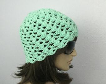 Womens Summer Crochet Hat Womens Summer Beanie in Mint Women Spring Hat Summer Fashion