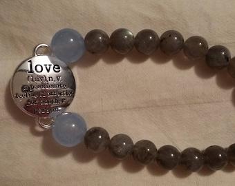 Labradorite and aquamarine with love charm
