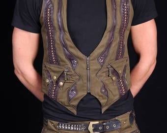 Quantum Collaborator Waistcoat (Green&Brown)steam punk-Doof--festivals-burning man-leather-Mens-psychedelic-psytrance-tribal-Oregon eclipse
