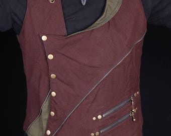 General Gypsy Waistcoat (Brown&Green)steam punk-Doof-festival-mens vest-burning man-psychedelic-psytrance-fire performer-Oregon eclipse