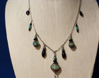 Turquoise and black ceramic beaded necklace on Sterling Silver